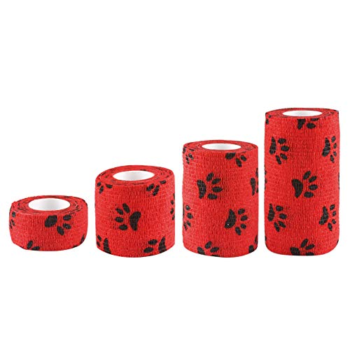 Andux Land Self-Adhesive Bandage 4 Rolls Cohesive Wrap Bandaging Tape ZZTXBD-04 (Red Black Dog Claw)