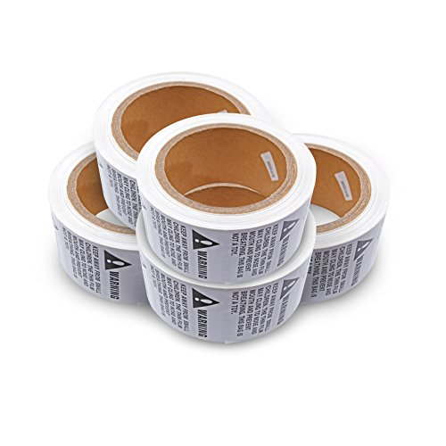 44LLC Suffocation Warning Keep Away from Children Stickers - 5 Rolls/2500 Labels