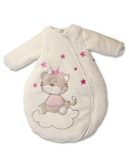 Jacky Mädchen Baby Winter Schlafsack Katze, Mit abnehmbaren Ärmeln, Wattiert, Alter: 6-12 Monate, Größe: 74/80, Farbe: Beige/Rosa, 350006