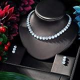MLKJSYBA Collares CZ Luxury Women Wedding Bride Cubic Zirconia Necklace 4pcs Vestido De Joyería Collares para Mujeres (Color : Silver)