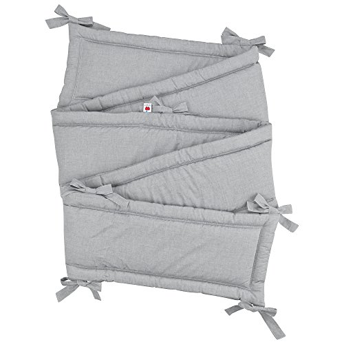 Sugarapple Rundum Nestchen, Bettnestchen & Bettumrandung in Uni grau, Länge 420 cm für Baby & Kinderbetten, 100% Baumwolle, Oeko Tex 100, Made in Germany