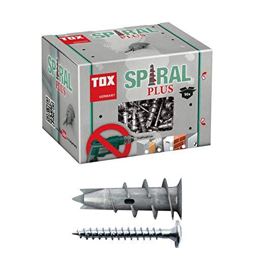 TOX Gipskartondübel Spiral Plus 37-2 mit Linsenkopfschraube 4,5 x 35 mm, für einlagige und doppelbeplankte Gipskartonplatten, 50 Stück