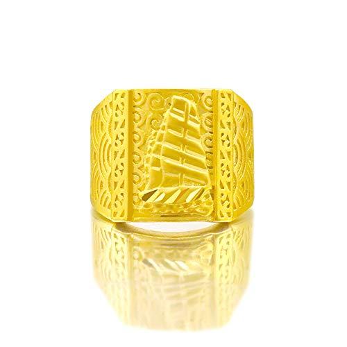 TYV Grote zeilring voor heren, 24 karaat gouden ring van puur messing, kleurecht, instelbare maat