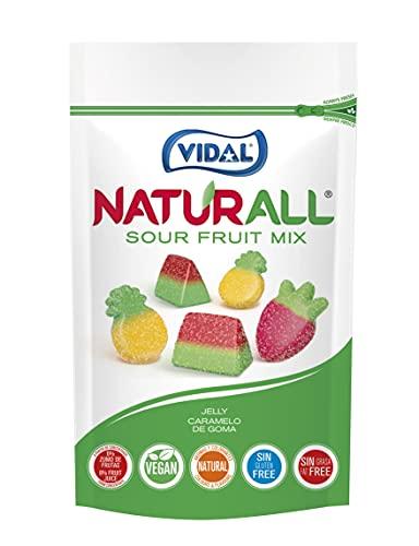 Vidal Golosinas. Naturall Sour Fruit Mix. Caramelo De Goma Vegano Con Colorantes Y Aromas Naturales. Sabores De Frutas Pica. Doypack G., Fresa, Piña, Sandía, 180 Gramo