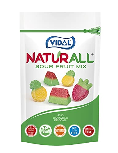 Vidal Golosinas. Naturall Sour Fruit Mix. Caramelo De Goma Vegano Con Colorantes Y Aromas Naturales. Sabores De Frutas Pica. Doypack...