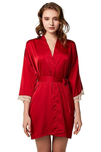YONIER Kimono Albornoces Mujer Verano Pijama Larga de Seda Ropa de Dormir de Encaje Bata Cómodo con Cinturón Satén Suave y Ligero Pijamas Sleepwear de Mujer