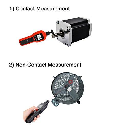Tacómetro Digital, Mengshen 2 en 1 Medidor de Velocidad de Contacto sin...