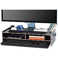 Tonsmile Soporte de Madera para Monitor, Altura Soporte de Madera del sostenedor del Muelle del Soporte de Pantalla para el Ordenador portátil PC(48 * 20 * 11CM)