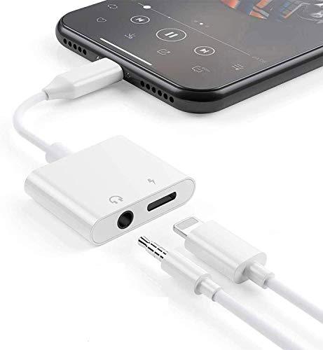 Tec-Digi Hörlursadapter för iPhone 11-adapter till 3,5 mm AUX ljudadapter kabeldelare för iPhone 11 Pro/X/XR/XS/XS Max/7/7Plus/8/8Plus Pro 3,5 mm hörlurskoppling Dongle Support IOS Systems