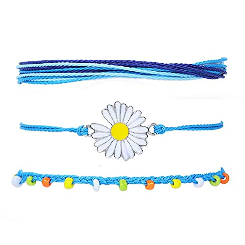 1 PC Mens Bracelet Chrysanthemums Colorful Rice Beads Woven Waterproof Wax Thread Simi Style Suit Anklet
