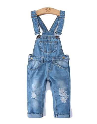Kidscool Mädchen Latzhose mit Ripped Big Bibs Soft Slim Jeans Overall - Blau - 18-24 Monate