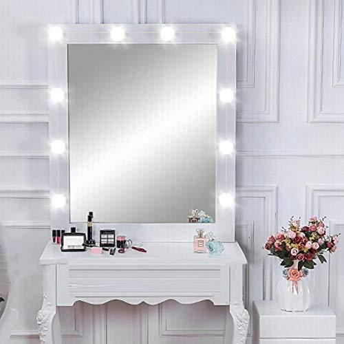 Cargador USB Luces LED de espejo de tocador, 10 bombillas, iluminación fuerte, luz de maquillaje, blanco frío para juego de tocador, enchufe, luz de maquillaje