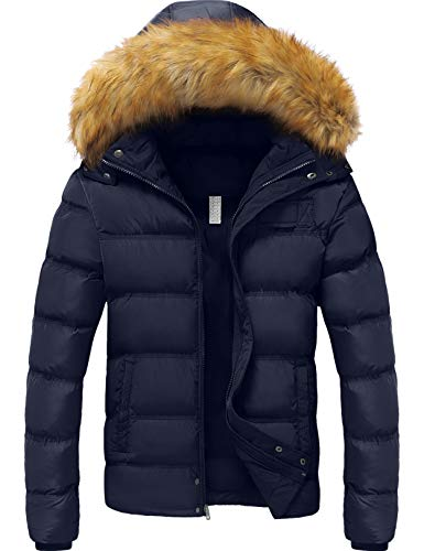YXP Men's Winter Thicken Cotton Coat Warm Puffer Jacket with Removable Fur Hood (Navy,X-Large)