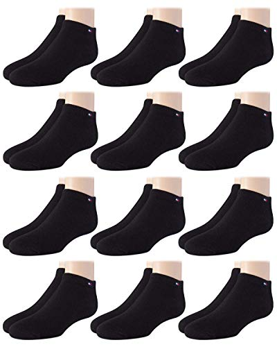 Tommy Hilfiger Unisex Kids' Athletic Socks – Cotton Low Cut Ankle Socks (Boys/Girls, 12 Pack), Size Medium/Shoe Size: 3.5-7, Black