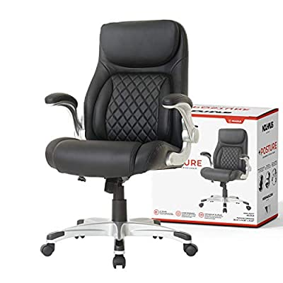 NOUHAUS +Posture Ergonomic PU Leather Office Chair. Click5 Lumbar Support with FlipAdjust Armrests. Modern Executive Chair and Computer Desk Chair