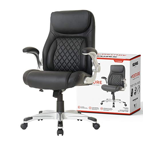 NOUHAUS +Posture Ergonomic PU Leather Office Chair. Click5 Lumbar Support with FlipAdjust Armrests. Modern Executive Chair and Computer Desk Chair (Black)