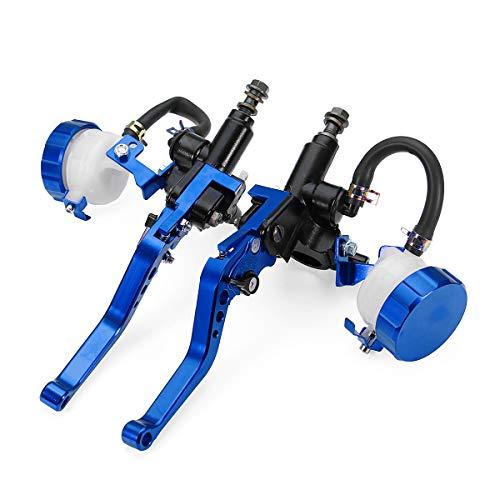 JenNiFer Réservoir De Levier De Maître-Cylindre d'embrayage De Frein CNC pour Moto 7/8 Pouces - Bleu