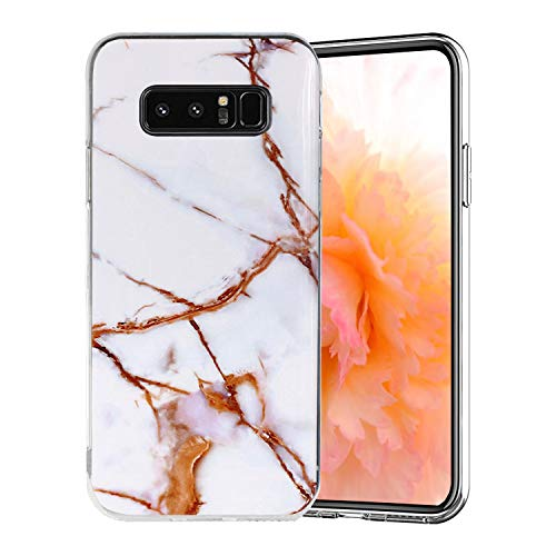 Misstars Coque en Silicone pour Galaxy Note 8 Marbre, Ultra Mince TPU Souple Flexible Housse Etui de Protection Anti-Choc Anti-Rayures pour Samsung Galaxy Note 8, Blanc Or