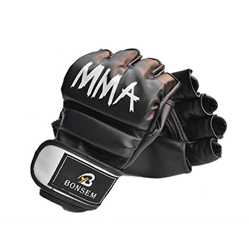 Sylvialuca MMA Boxhandschuhe Soft PU Half Finger Design Grappling Boxsack Trainingshandschuhe für Erwachsene EIN Paar/Set