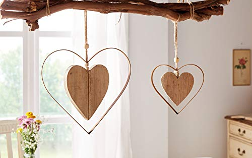 2 Deko-Hänger Herz in Herz aus Metall in Rost-Optik & Treibholz, Fensterschmuck, Wanddeko, Hängedeko