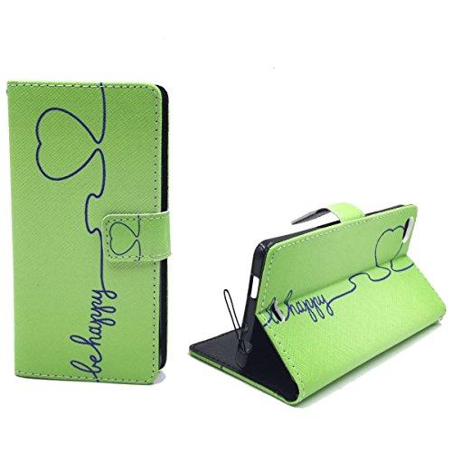 König Design Handyhülle Kompatibel mit Wiko Highway Pure Handytasche Schutzhülle Tasche Flip Hülle mit Kreditkartenfächern - Be Happy Design Grün