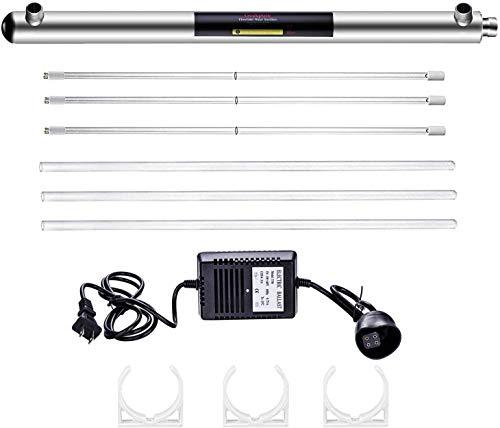 geekpure purificador de agua ultravioleta esterilizador Filtro para toda la casa agua purificación, 12gpm 55W con 2sets Extra Tubo de UV y bombilla