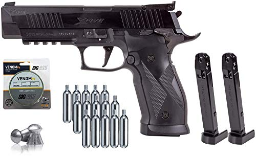X5 Series Sig Sauer P226 Black .177 Airgun with 2 Extra Magazines and 15x12 gr C02 Tanks and 500 Match Lead Pellets Bundle (Black)