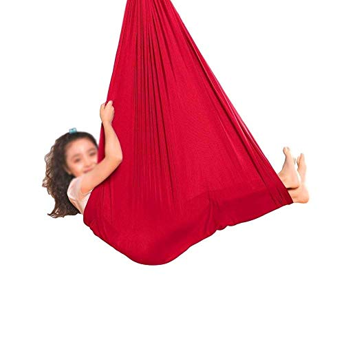 GCZZYMX Swing Hammock Therapy For Kids con Necesidades Ees Seda Transpirable Interior Indoor Físico Abddlev Autism Asperger's Syndrome,Rojo,100 * 280Cm/39 * 110In