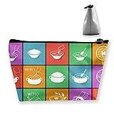 Plano de Comida Rápida Embalaje de Cocina, Iconos Set de Viajes Cosméticos Bolsas de Brocha Bolsa de Maquillaje