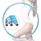 LIUMY Fitnesskreis, Hoop zur Gesundheit, NEU Schlankheits Kreis mit Edelstahlglied, abnehmbare Reifen für Gymnastik, Sport Kreis mit Schaumstoff Draussen für Taille/Hüfte trainieren (Blau)