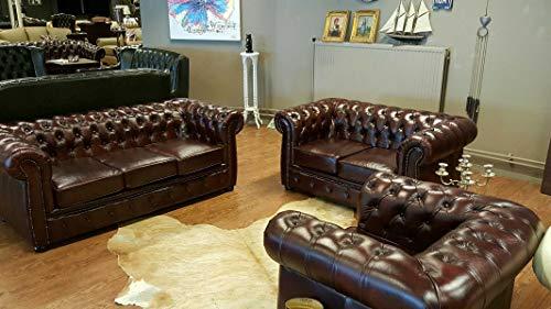 JVmoebel Chesterfield Sofagarnitur Sofa Couch 3+2+1 Garnitur 100{6117f1eb862f211b7c74129aa2ebeb541d8503543e23ac5ab3b3eae2d798c33c} Leder Antik Rot Sofort