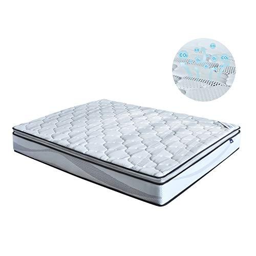 Colchón individual Deluxe Muebles Dormitorio, módulos ergonómicos, muelles cilíndricos independientes combinados, transpirable, gris claro (80 x 200 x 23 cm)