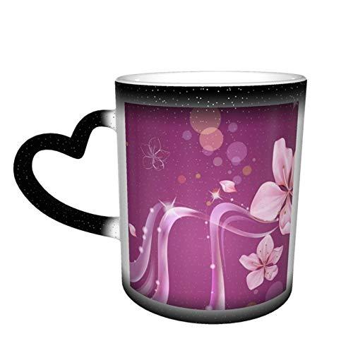 Taza de café cambiante mágica, colores artísticos, líneas de flores florales personalizadas, impresión personalizada, taza sensible al calor, cerámica para regalo, té, café