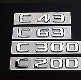 ZHANGY para Mercedes Benz Clase C C63 C43 C55 AMG C180 C200 C220 C300 C320 C350 4MATIC CDI Tronco Emblema Insignia Cromado Letras Emblemas, C43