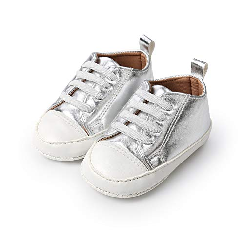Morbuy Künstliches PU Baby Schuhe Turnschuhe Mädchen und Jungen Kleinkind Babyschuhe Neugeborene Anti-Rutsch Weiche Alleinige Krabbelschuhe Wanderer Weiche (11cm / 0-6 Monat, Silber)
