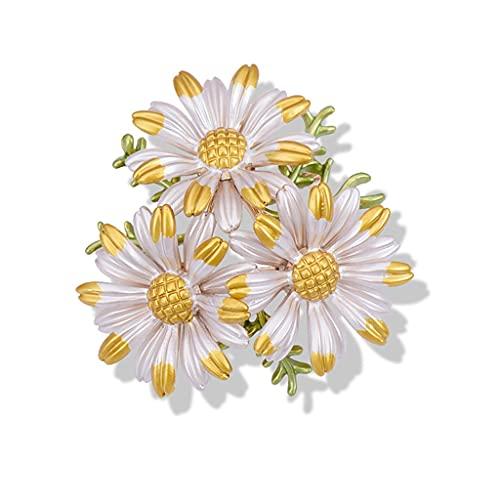 DZHT Daisy Esmalte Pin Flor Broches para Mujer Joyería Moda Metal Broche Bufanda Accesorios Clip