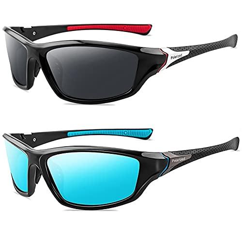 Grainas Polarisierte Sportbrille Sonnenbrille für Herren Damen Fahrerbrille Radsportbrillen zum Radfahren Skifahren Autofahren Fischen Laufen Wandern UV400 Schutz (Schwarz Rot + Blau)