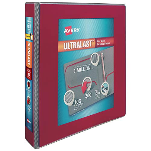 Avery 1.5' ULTRALAST 3 Ring Binder, One Touch Slant Ring, Holds 8.5' x 11' Paper, 1 Red Binder (79713)