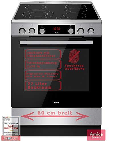 Amica Standherd Elektro Ceran Kochfeld 60cm Heißluft Grill TouchFree Oberfläche Zweikreis- + Bräterzone 24+6 Monate Garantie