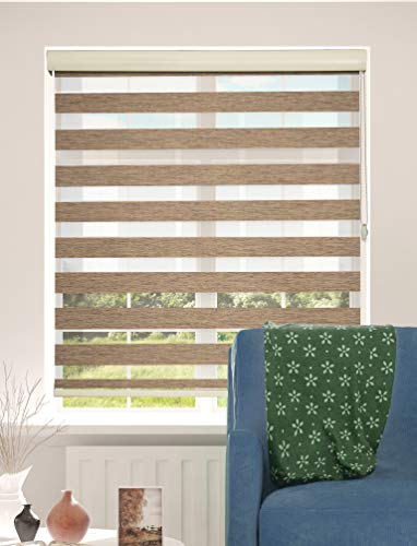 ShadesU Blinds for Window Dual Layer Roller Zebra Sheer Shades & Blinds Light Filtering Window Treatments Privacy Light Control for Day and Night (Maxium Height 72inch) (Brown Color) (Width 35inch)
