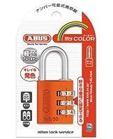 ABUS マイカラーナンバー可変式南京錠30mm オレンジ 145-30 OR 小箱5個入り