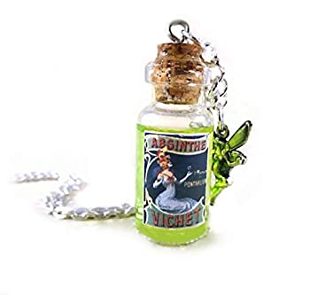 Absinthe Mini Glass Bottle Green Liquid Shimmer Necklace Charm with Fairy