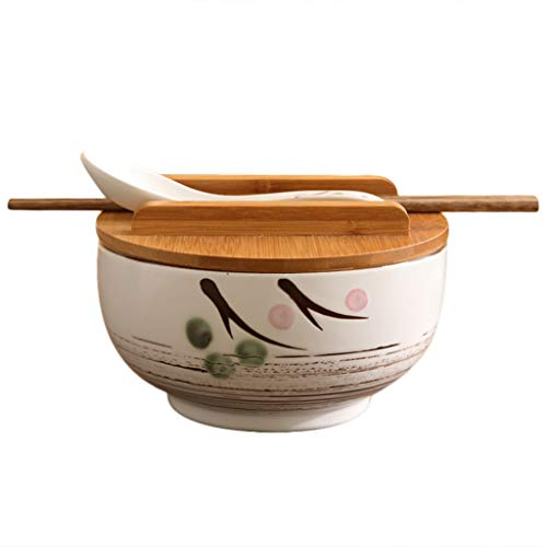 Li Li Na Shop Japanische Küche Geschirr koreanische Vintage Schüssel Nudeln Reis Schüssel japanischen Stil Keramik Instant Nudel Schüssel Stäbchen mit Deckel und Löffel Küche liefert