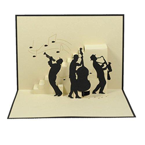 Favour Pop Up Glückwunschkarte. Ein filigranes Kunstwerk, dass beim Öffnen mit einer liebevoll gestalteten Jazz-Band überrascht. TB050