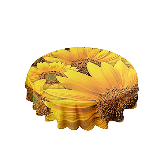 Himlaya Manteles Redondos Impermeable, 3D Girasol Imprimir Mantelerias Antimanchas Manteles Mesa Lavable Mantel de Mesa para Decoración Cocina Comedor Salón (Phalaenopsis Blanca,100cm/39in)