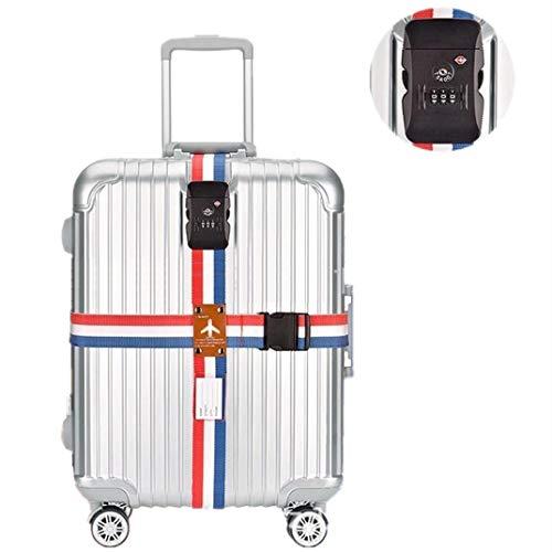 スーツケースベルト 十字型 TSAロック 3桁ダイヤル式 2個セット トランクベルト ネームタグ付 盗難防止 旅行 出張などに最適 (TSAロック)