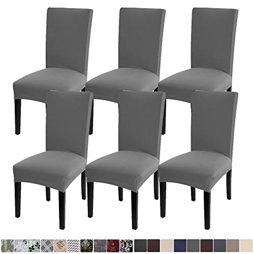 Fuloon 6 Pack Super Fit Stretch Removable Washable Short Dining Chair Protector Cover Seat Slipcover for Hotel,Dining Room,Ceremony,Banquet Wedding Party (Gray)