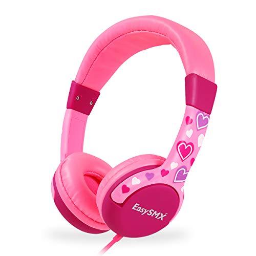 EasySMX Cuffie per Bambini, KM-666 Wired Over Ear Cuffie per Bambini Ragazze e Ragazzi, Limite Volume 85db, Cuffie Musica, con Jack da 3,5 mm per Bambini (Rosa)