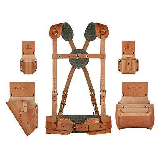 Linkshändiges Schreiner-Zimmermann Werkzeuggürtel Komfort-Set aus Leder mit normalen...