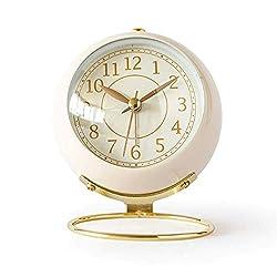 Small Table Clocks Vintage Decorative Desk Clocks Non-Ticking Tabletop Alarm Clock for Bedroom/Living Room/Kitchen/Office/Classroom (White)